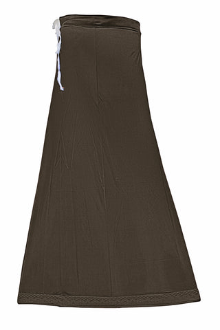 Googlias Women's Lace Bottom Satin Saree Slips Length 40-Dark Choco
