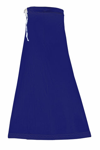 Googlias Women's Lace Bottom Satin Saree Slips Length 40-Ink Blue