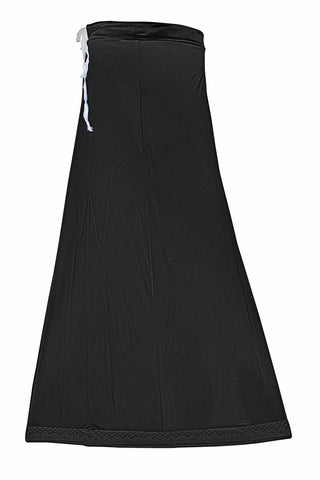 Googlias Women's Lace Bottom Satin Saree Slips Length 40-Black