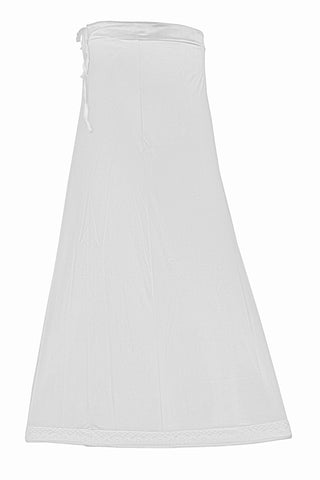 Googlias Women's Lace Bottom Satin Saree Slips Length 40-off white