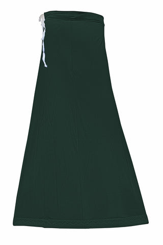 Googlias Women's Lace Bottom Satin Saree Slips Length 40-Bottle Green