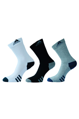 Adidas Pack Of 3 Men's Flat Knit Crew-white/ black/ grey Millange