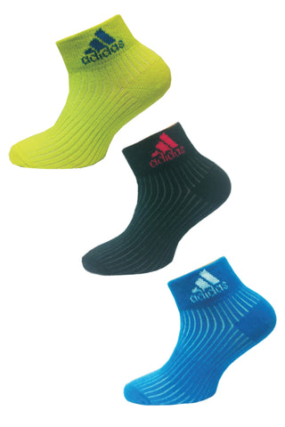 Adidas Pack Of 3 Women's Flat Knit Quarter-Bahin glow/ black/ dark solar