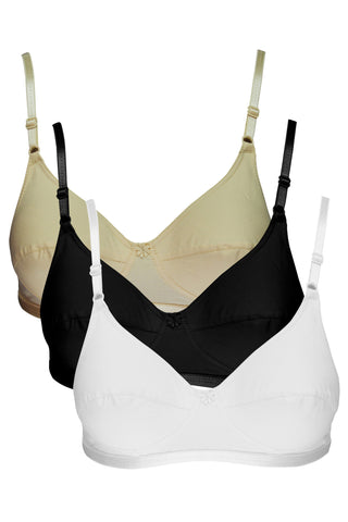 Angelform Asin Women's Saree Bra Full Figure Pack of 3-White::Black::Skin