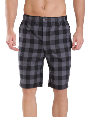 Jockey Men's Black And Charcoal Checked 100% Cotton Bermuda-US88