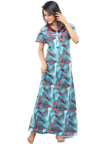 Juliet FN 70645 Women's Full Nighty,Blue Print