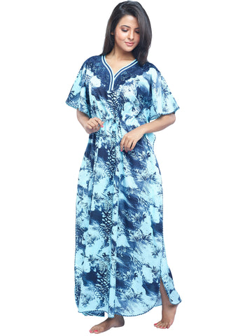 Juliet FN 70806 Women's Fancy Nighty,Navy Print