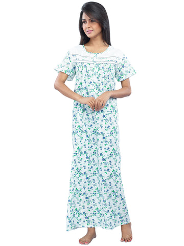 Juliet FN70816 Women's Full Nighty,Blue Print