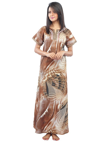Juliet FN70825 Women's Fancy Nighty,Brown Print
