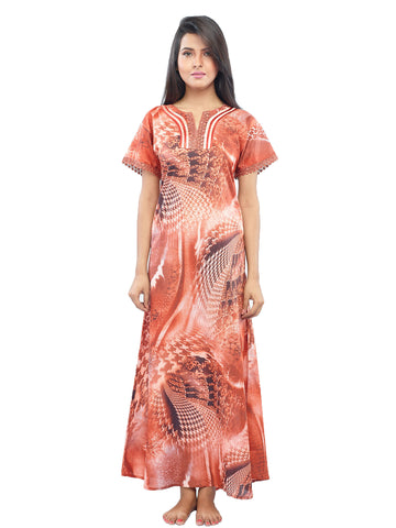 Juliet FN70825 Women's Fancy Nighty,Rust Print