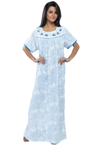 Juliet FN70856 Women's Full Nighty,Blue Print