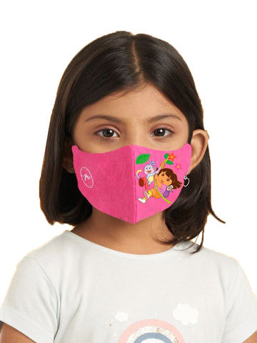 Poomer Kid's-Girl's Washable 3 layer Anti-Bacterial Assorted Face Mask (Pack of 3)