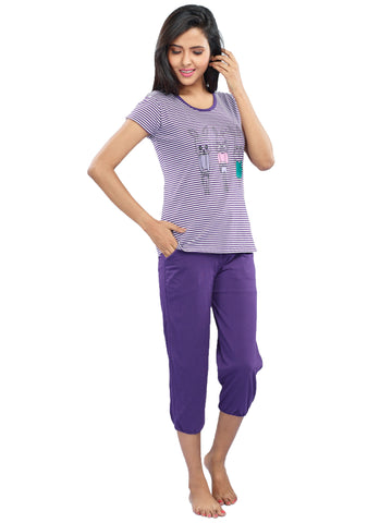 Juliet JLCP11988 Women's Capri Night Suit,Purple