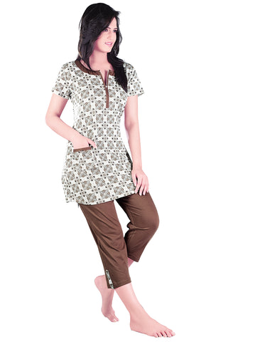 Juliet JLCP12356 Women's Capri Night Suit,Brown