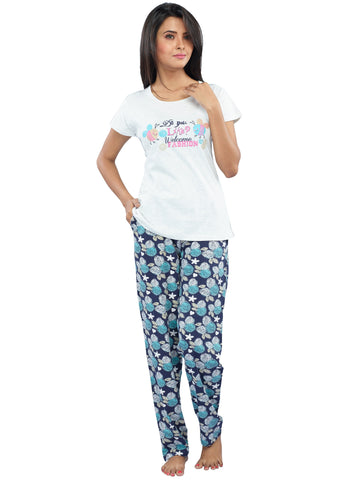 Juliet JLPJ12195 Women's Pyjama Night Suit,White Millange