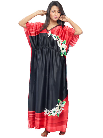 Juliet JRB10037 Women's Fancy Nighty,Black Red Print