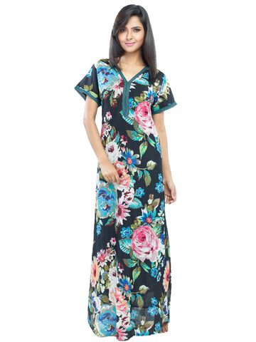 Juliet JRB10039 Women's Fancy Nighty,Black Print