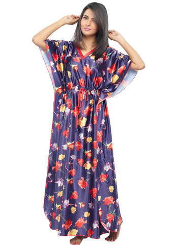Juliet JRB10042 Women's Fancy Nighty,Navy Red Print