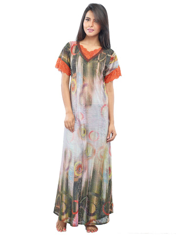 Juliet JRB10048 Women's Fancy Nighty,Rust Print