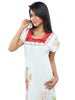 Juliet JRB9081 Women's Fancy Nighty,Cream Red Print