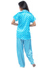 Juliet JRB9085 Women's Pyjama Night Suit,Blue Print