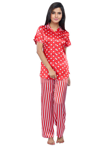 Juliet JRB9085 Women's Pyjama Night Suit,Red Print