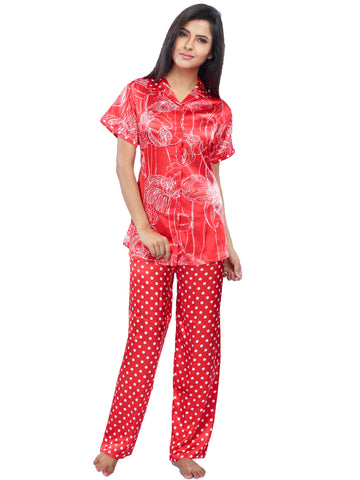 Juliet JRB9090 Women's Pyjama Night Suit,Red Print