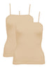 Juliet JSC811 Girls & Women's Cotton Lycra Camisole Pack-Of-2 Beige
