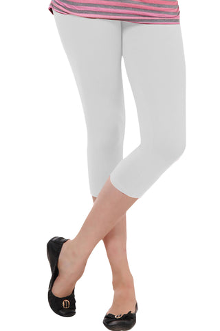 Juliet JSL-2718 Women's Cotton Lacra 3/4thLength Capri Leggings-Cream (06)
