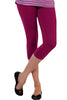 Juliet JSL-2718 Women's Cotton Lacra 3/4thLength Capri Leggings-Dark Fuschia (26)