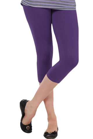 Juliet JSL-2718 Women's Cotton Lacra 3/4thLength Capri Leggings-Light Purple (31)