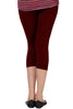 Juliet JSL-2718 Women's Cotton Lacra 3/4thLength Capri Leggings-Maroon (23)