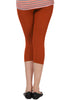 Juliet JSL-2718 Women's Cotton Lacra 3/4thLength Capri Leggings-Rust (15)