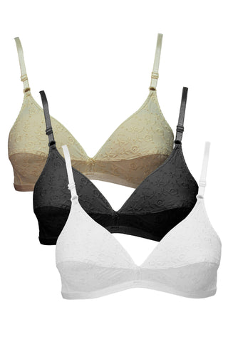 Angelform Nazriya Women's Saree Bra Pack of 3-White::Black::Skin