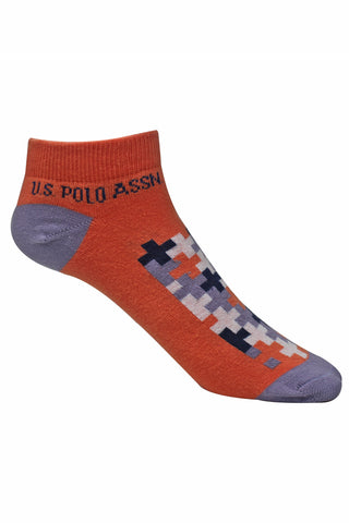 U.S.Polo Pack Of 1 Women's Flat Knit Low Cut-PERSIMMON