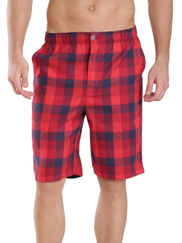 Jockey Men's Red And Navy Blue Checked 100% Cotton Bermuda-US88