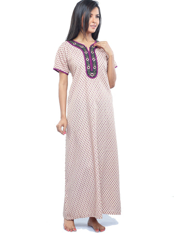 Juliet SCA409195 Women's Full Nighty,Skin Print