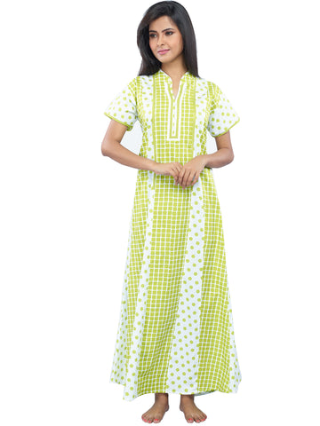 Juliet SCA409222 Women's Fancy Nighty,Green Print