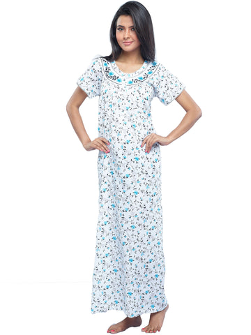 Juliet SCA409394 Women's Full Nighty,Blue Print