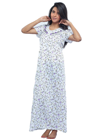 Juliet SCA409394 Women's Full Nighty,Violet Print