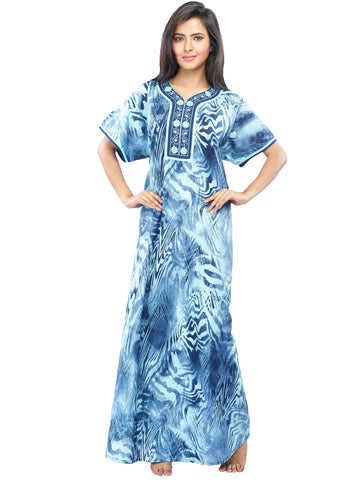 Juliet SCA503462 Women's Fancy Nighty,Blue Print