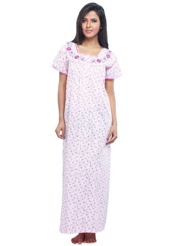 Juliet SCH503456 Women's Full Nighty,Pink Print
