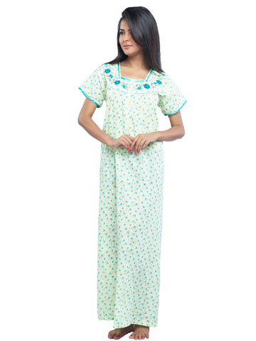 Juliet SCH503456 Women's Full Nighty,Yellow Print