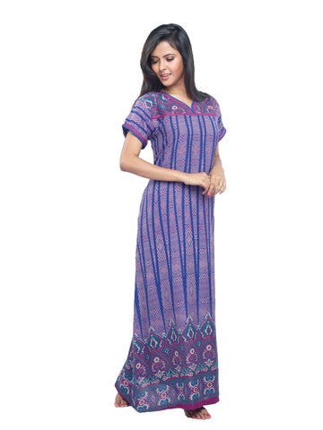 Juliet SCS409359 Women's Fancy Nighty,Blue Print