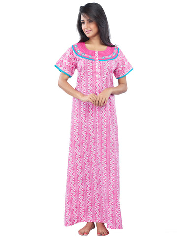 Juliet SLC30176 Women's Full Nighty,Pink