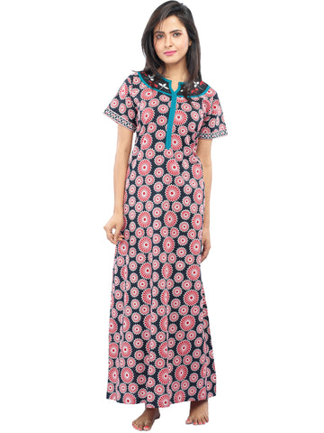 Juliet SLC30200 Women's Fancy Nighty,Black Print