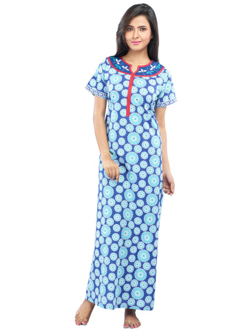 Juliet SLC30200 Women's Fancy Nighty,Blue Print