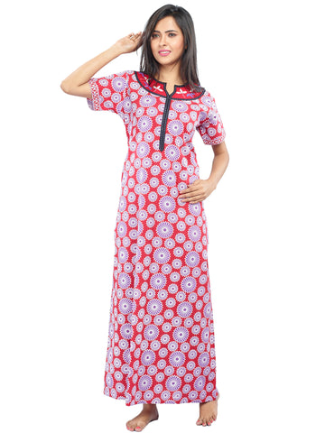 Juliet SLC30200 Women's Fancy Nighty,Red Print