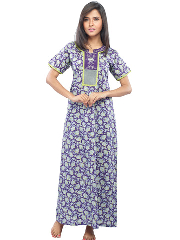 Juliet SLC30208 Women's Fancy Nighty,Violet Print