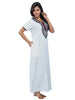 Juliet SNC20668 Women's Full Nighty,White Print
